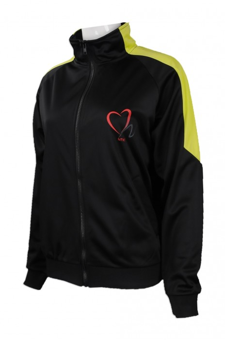J752 大量訂做女裝風褸外套 網上下單金光絨 黃色肩位撞色 風褸外套款式 自製logo款風褸外套專營店