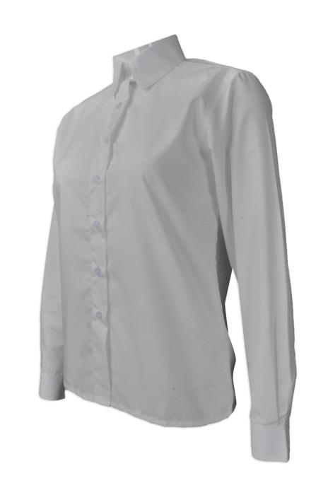 R233  大量訂造女裝恤衫  網上下單白色恤衫   來樣訂造女裝長袖恤衫   恤衫製造商