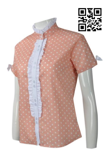 R234  製作度身恤衫款式    自訂波點恤衫款式   澳洲 HH 筒位波浪閘 bowtie 結 波浪 皺褶領   設計女裝恤衫款式   恤衫製造商