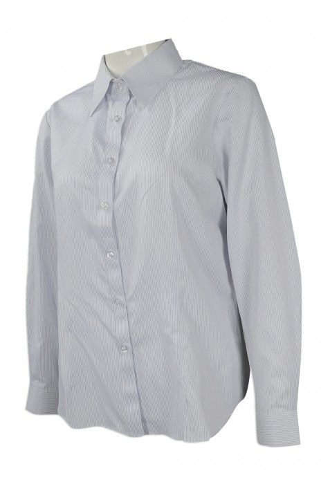 R248 團體訂做長袖恤衫 設計淨色修身恤衫 自製員工制服恤衫批發商