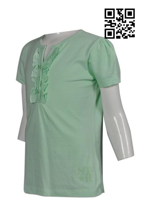 FA318訂製淨色童裝T恤  設計皺褶邊T恤   訂做童裝T恤衫   T恤生產商