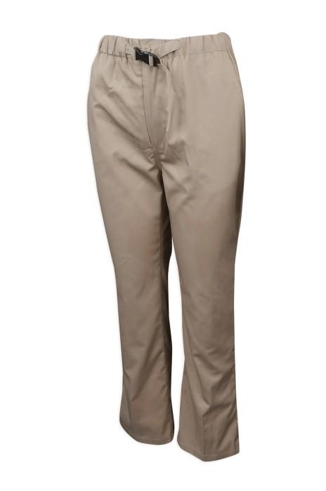 H227 製造卡其色長款斜褲  斜褲專門店 腰位 鎖扣設計