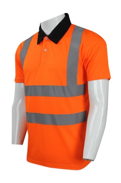 D230 訂製撞色領口工業制服 設計反光帶工業制服Polo恤 工程制服 製造商