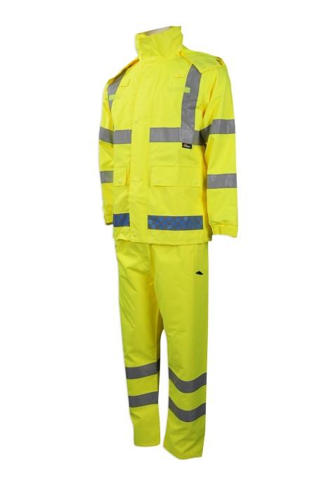 D244 度身訂製工業制服 團體訂購螢光色工業制服  營光 反光格仔制服 設計格子反光帶工業制服製造商