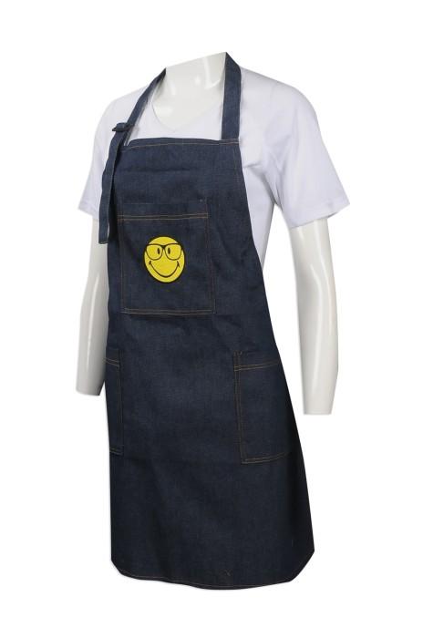 AP122 製作牛仔布圍裙款式 訂購全身牛仔圍裙 訂造印花LOGO款圍裙批發商