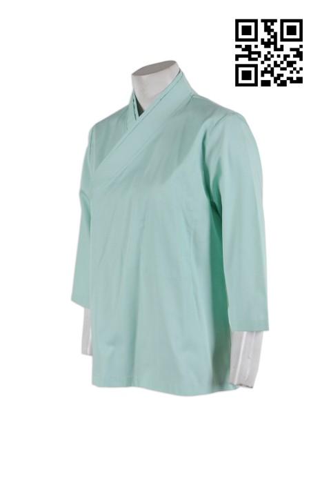 NU027 專業訂製診所制服 3/4 袖 7分袖 和服式醫護制服上衣 團體制服上衣 醫護制服專門店