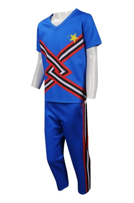 CH177 網上下單兒童啦啦隊服 來樣訂做啦啦隊服 設計男童短袖啦啦隊服專營店