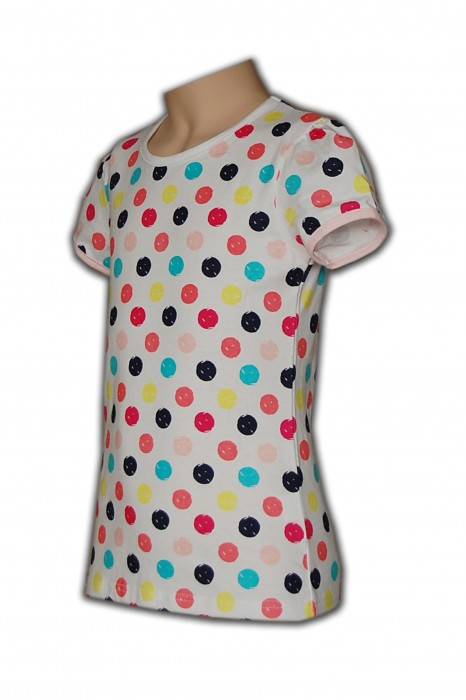 KD012  童裝棉Tee 度身訂製 長款彩點Tee T恤批發商