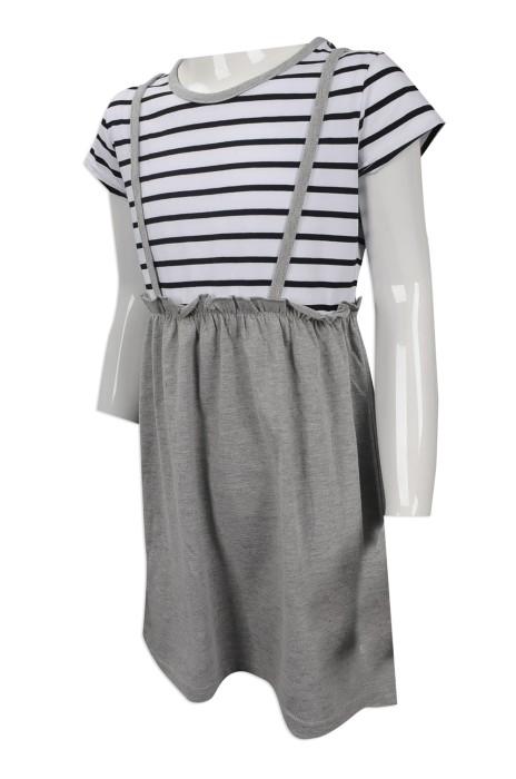 KD021 度身訂做女童連衣裙 設計女童條紋洋裙  女童洋裙生產商