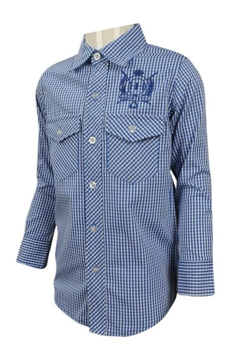 KD023 來樣訂製小童恤衫 設計兒童長袖恤衫 格仔紋 小學校服 澳洲 HH  小童恤衫批發商