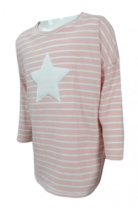 KD027 度身訂製女童條紋時裝款 自製logo條紋女童時裝款式 女童時裝款式生產商