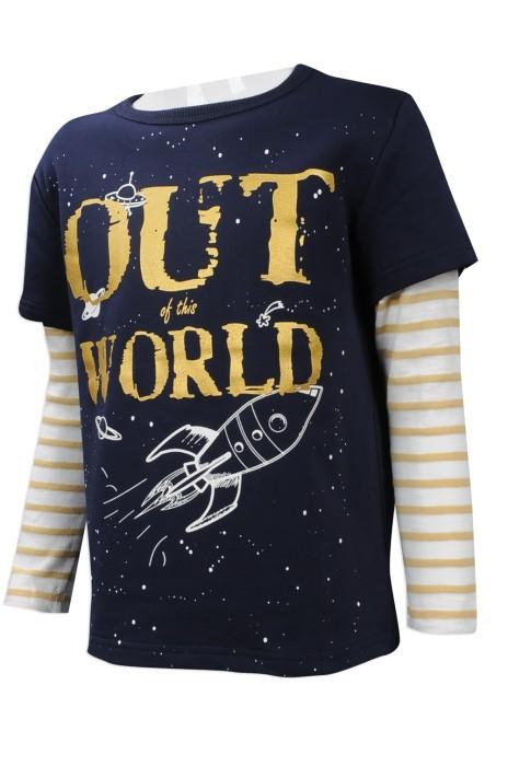 KD043 大量訂做小童長袖T恤 網上訂購小童 間條長短袖設計T恤 台灣 設計印花LOGO小童T恤專營店