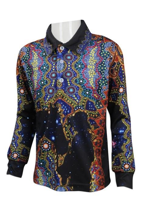 KD049 訂購全件印童裝Polo恤   設計長袖熱升華Polo恤  大量訂造童裝Polo恤 童裝專門店