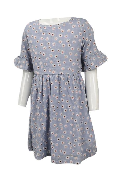 KD051 製造女童碎花連身裙  網上下單女款童裝  台灣 碎花 親子套裝  親子度身訂造荷葉邊裙裝 童裝專門店