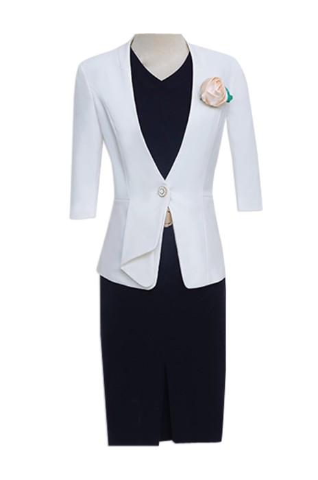 SKCS001 供應職業裝女裝  訂購正裝美容師西裝連衣裙 網上下單直身裙 直身裙專營