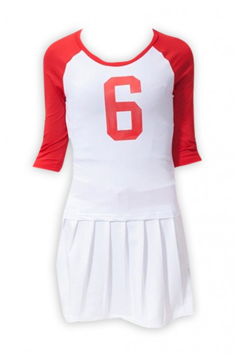 SKCU005  設計啦啦隊服  網上下單啦啦隊服裝 足球啦啦操服裝  女套裝演出服 現貨 價格