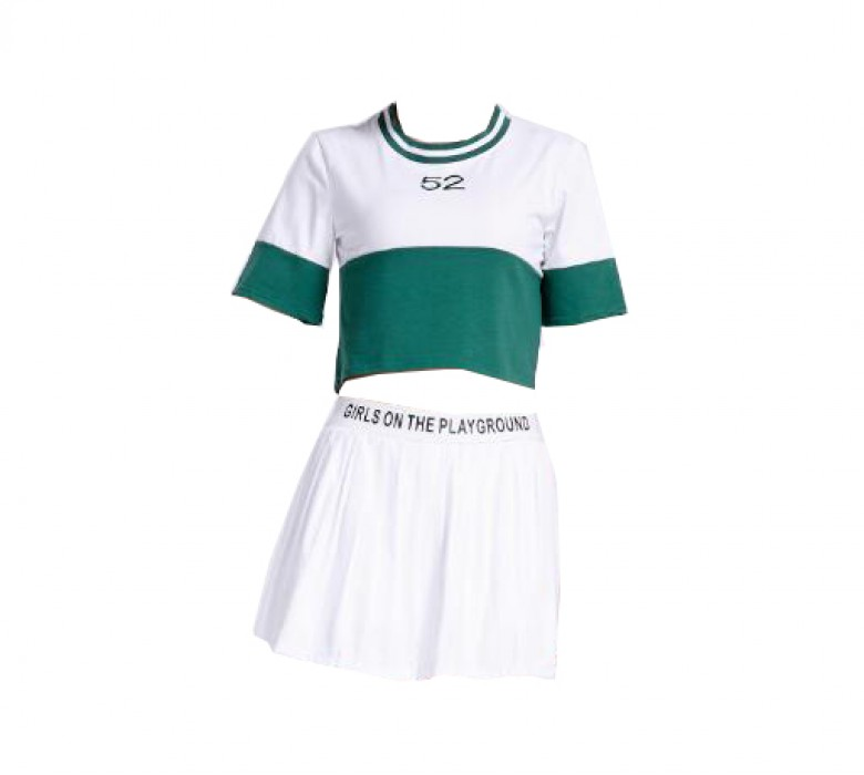 SKCU014 訂造足球寶貝啦啦隊服款式   自訂分體啦啦隊服款式   製作百褶裙啦啦隊服款式  啦啦隊服中心