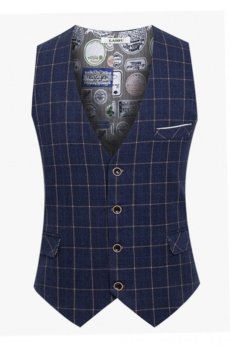 WC018 製作休閒男士西裝馬甲 訂購修身西裝背心 英倫格子西裝背心 背心坎肩供應商