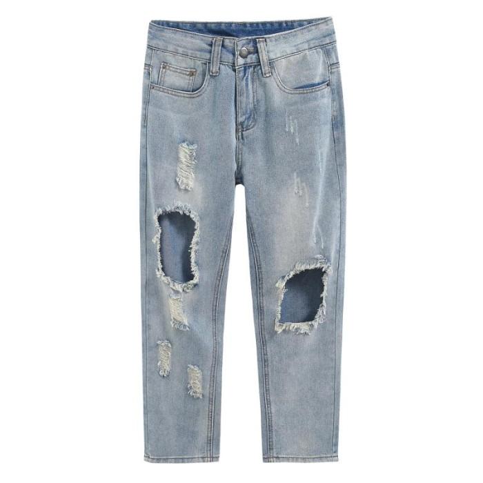 SKHT001 訂製牛仔破洞褲款式   製作寬鬆破洞褲款式   自訂直筒破洞褲款式  破洞褲專營