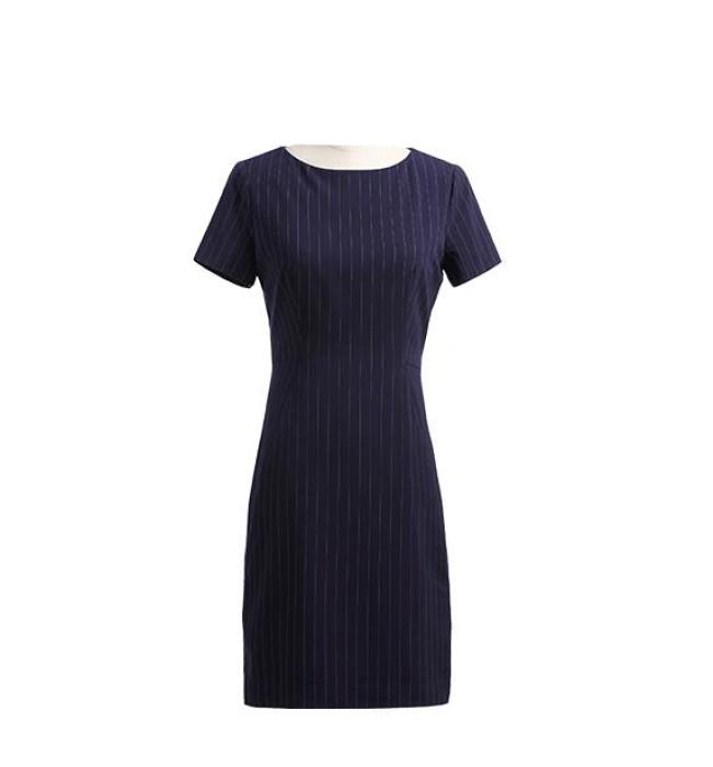 SKPD003  設計條紋職業連身裙款式   自訂修身中長款連身裙款式   製造氣質職業連身裙款式   職業連身裙廠房