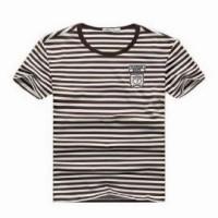 FA188  條紋班t恤 訂購 口袋繡花T設計 休閒T恤款式 T恤公司