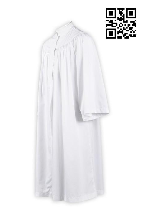 CHR004純色聖詩袍 祭典服 白色牧師服 受洗袍 聖詩服獨家訂購 度身訂造牧師袍 聖詩袍製造商