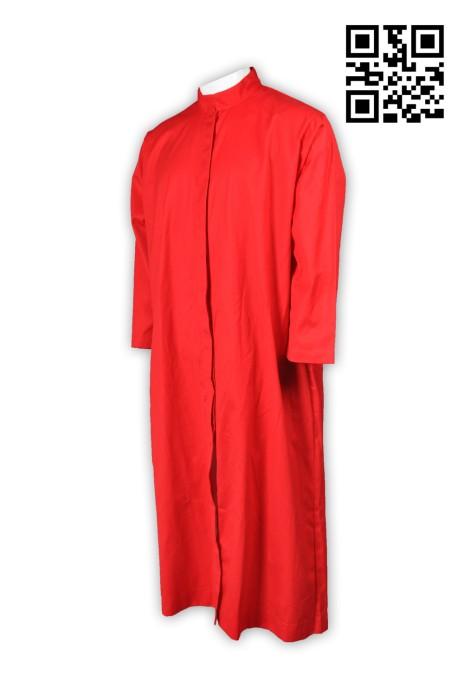 CHR005訂造紅色聖詩袍 製作長款聖詩袍 牧師袍 受洗袍 洗禮袍 聖詩袍製造商