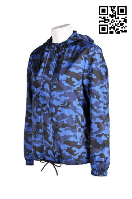 J462 全件迷彩藍外套 訂做迷彩藍風褸  設計個性迷彩外套  來樣訂製擋風迷彩藍風衣  風褸訂造供應商HK