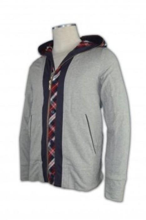 FA003 有帽衛衣訂製 門襟拼布衛衣 內層撞色外套 金銀拉鏈 格仔紋 帽印花 假兩件拉鏈衛衣 衛衣香港公司