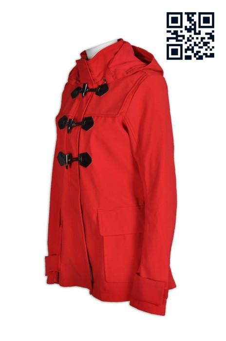 J558自訂時尚女款外套  製造修身女裝外套  時裝 大鈕扣 牛角鈕扣 修身 長褸 樹脂鈕 供應個性女裝外套 外套hk製造商