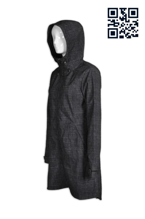 J559製造長款修腰女款外套 全件印花  長身大褸 設計連帽女裝外套 度身訂造女裝外套 長風衣英文 外套專營