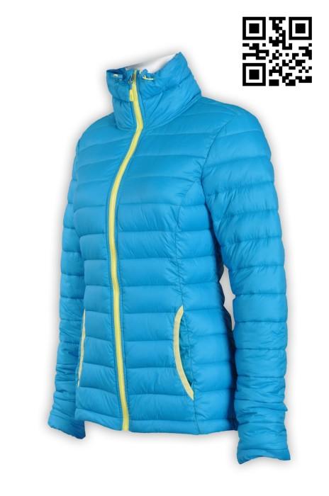 J530製造修身羽絨外套 訂購藍色女士外套 夾棉訂造舒適保暖外套 女裝羽絨 羽絨外套製造中心
