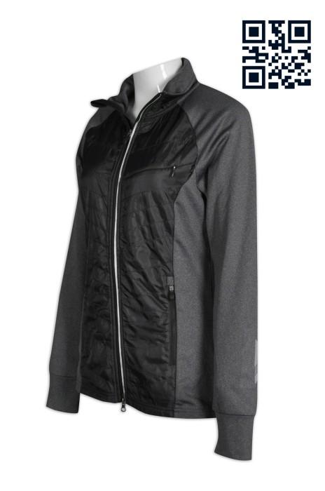 J561訂印專業運動外套  夾棉拼接款 後腰袋 反光印 雙頭拉鏈 製作吸濕排汗運動外套  個人設計修身女裝外套 外套製衣廠