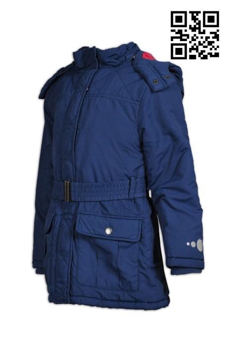 J593來樣訂製童裝外套  製作修身外套  定購反光撞色帽風樓外套   風樓外套製衣廠