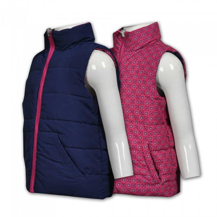 J608製造兩用兒童背心夾棉外套  供應雙面背心夾棉外套  設計兩面穿背心外套 夾棉外套專營