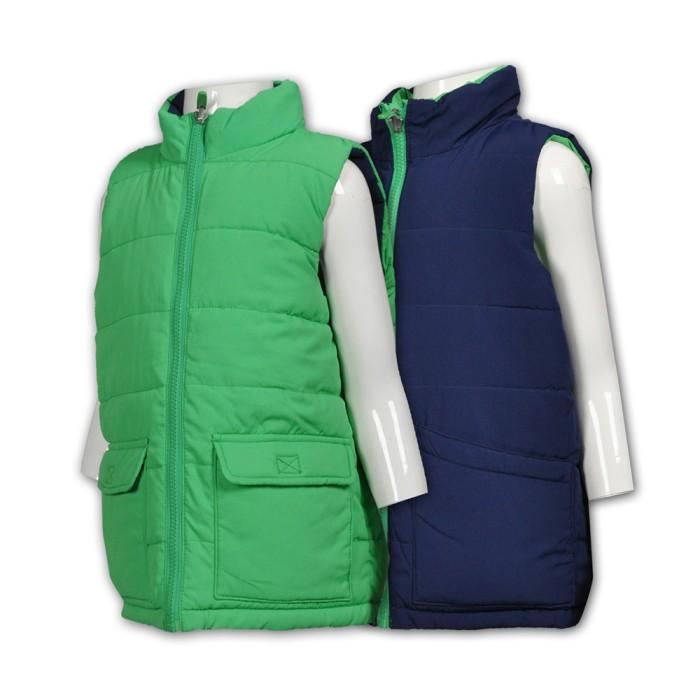 J609訂造兩面穿背心夾棉外套 供應保暖兒童背心夾棉外套  製作雙面背心外套  雙面褸 夾棉外套中心