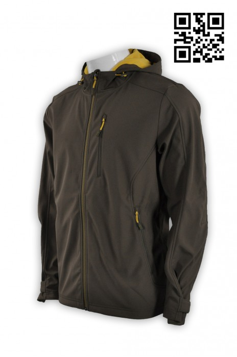 J522個人設計男士外套 訂購咖啡色外套 複合 鯊魚仿布3合1 四面彈 網上下單外套 外套制服公司 探險家衣服