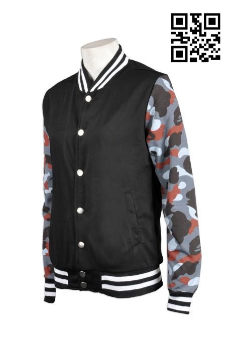 Z246訂造迷彩袖棒球褸  訂製迷彩拼接外套 夾克立領韓版上衣 女子 棒球 褸 秋冬裝加絨衛衣 訂購團體男裝衛衣公司