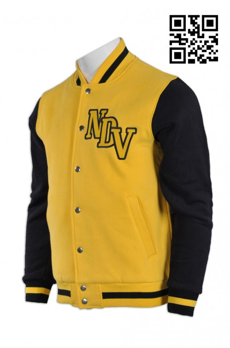 Z256訂造啪鈕棒球風褸 棒球 褸 拼 色 訂 訂購大碼棒球風褸 拼 色 綿褸 自訂衛衣棒球風褸 棒球褸製造商