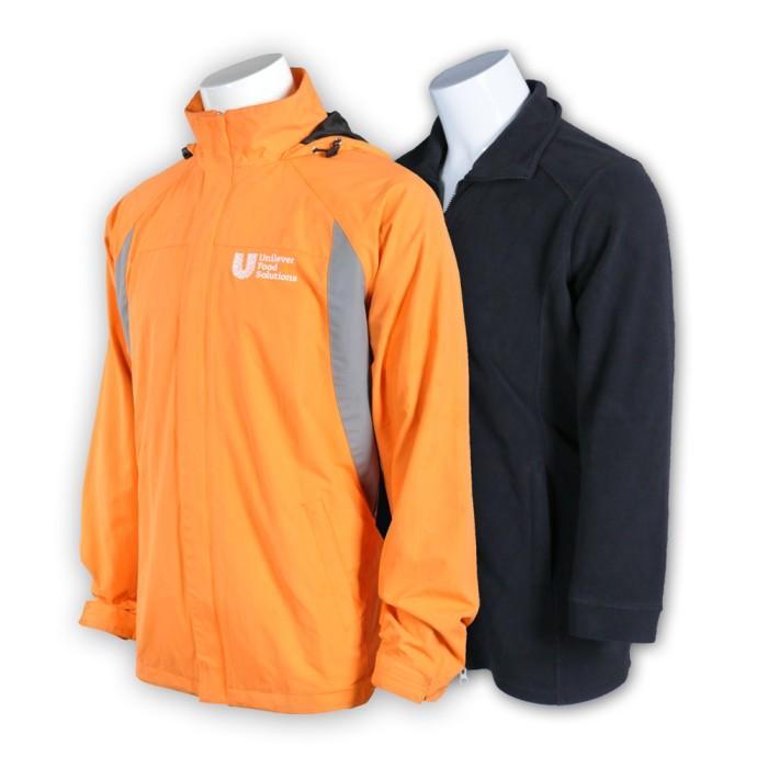 J527度身訂造團體外套 製作橙色工作外套 食品批發 防水透氣 飲食零售品牌行業 網上下單風褸 外套制服公司