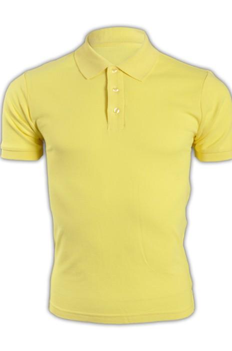 純色 黃色044短袖男裝Polo恤 1AC03  男裝純色短袖polo恤 運動舒適polo恤 polo恤生產商 T恤價格