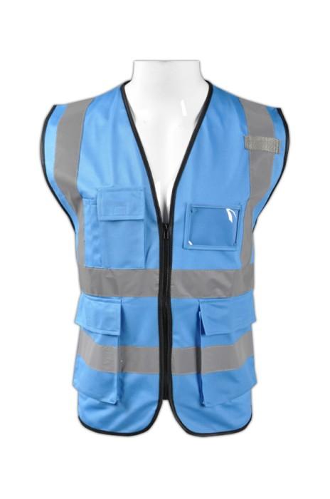 TB 藍色EN471梳織高亮反光背心 LK#088 度身訂造交通作業工作服 團體工作服設計 反光工作服廠家 梭織反光背心價格