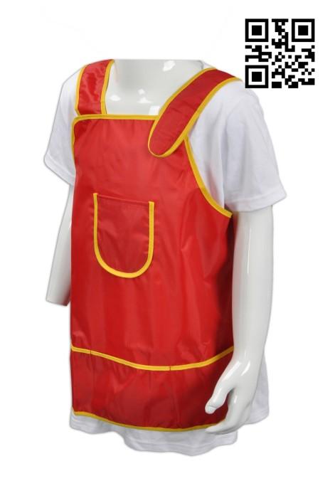 SKAP011 紅色圍裙 網上訂購魔術貼圍裙  製造防水兒童圍裙 來樣訂造圍裙 圍裙供應商 圍裙價格