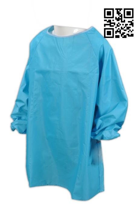 SKAP012 藍色圍裙 訂製全身式圍裙 設計長袖圍裙  100%聚酯纖維 後面 綁繩 來樣訂造圍裙  圍裙制服公司 圍裙價格