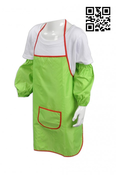 SKAP013 綠色圍裙 製作防水兒童圍裙  供應學生有袖圍裙 畫室 袖套 全身 大量訂造圍裙 圍裙專門店 圍裙價格