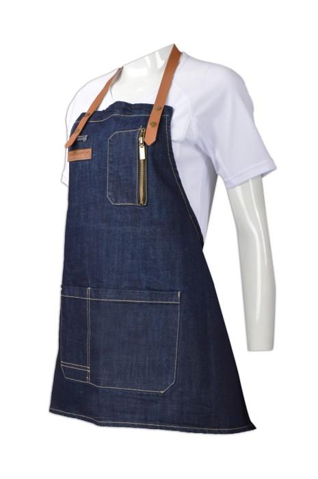 SKAP018  設計牛仔圍裙 訂購皮帶咖啡師圍裙 製造西餐廳烘焙家居工作圍裙 圍裙製造商