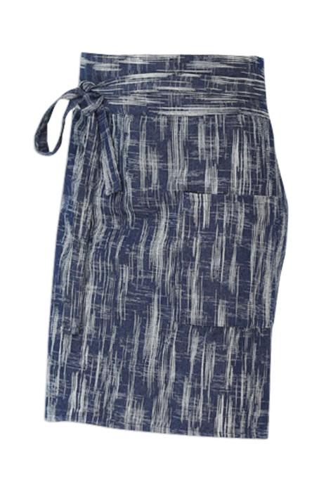 SKAP029  設計牛仔布圍裙 日韓風格短款 酒吧餐廳咖啡廳工作裝 純棉加厚  半身圍裙