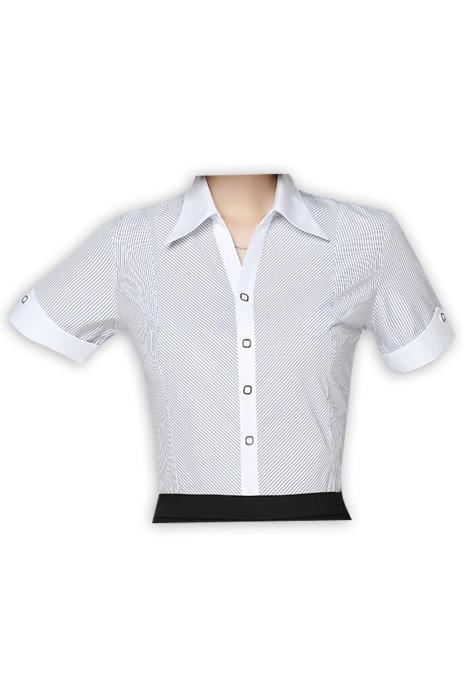SKR005 訂做職業馬蹄袖恤衫款式   自訂商務恤衫款式  馬蹄袖   製作短袖女裝恤衫款式   短袖恤衫中心