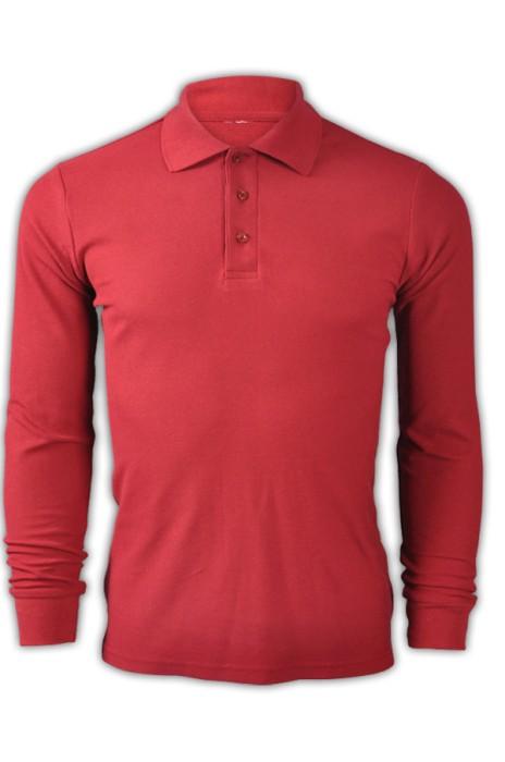 純色 酒紅色032長袖男裝Polo恤 1AD01 設計訂造活動純色polo恤 運動透氣polo恤 polo恤香港公司  Polo恤價格
