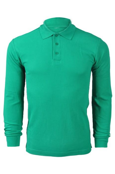 純色 正綠色064長袖男裝Polo恤 1AD01 來樣訂做DIY純色polo恤 純棉透氣polo恤 polo恤製造商  Polo恤價格